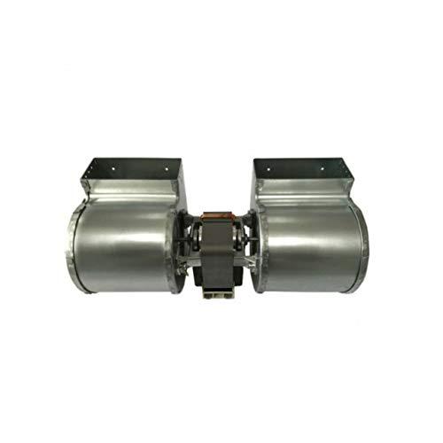 Ventilatore centrifugo doppia aspirazione lunghezza totale 310 mm, dimensioni bocchetta 2 x 108x50 mm, per stufe a pellet
