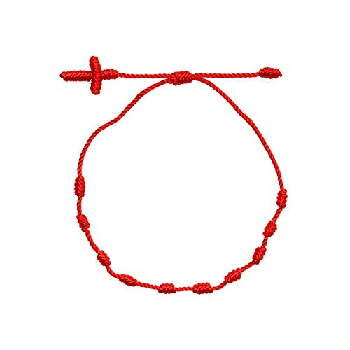 HJHQQ-CZYHG Red Cross Bracelet made, with unisex woven knots Adjustable strap, for men women and children (Color : Rosso)
