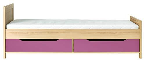 Furniture24_eu Bett CODI Bettgestelle Bettrahme 90 x 200 cm mit 2 Schubladen, Taschenfederkernmatratze und Lattenrost (Kirsche Cornvall/Lirio)