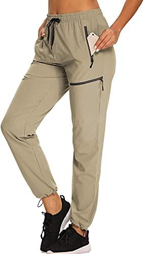 VANGULL Cargo Hiking Pants for Women Elastic Waist Quick Dry Lightweight Outdoor UPF 50+ Long Pants Zipper Pockets Khaki