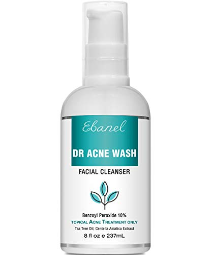 Ebanel Benzoyl Peroxide 10% Acne Wash with Tea Tree Oil, 8 Oz Maximum Strength Acne Treatment, Acne Face Body Wash Cleanser for Teens & Adults, Reduce Redness & Inflammation, Prevent Future Breakouts