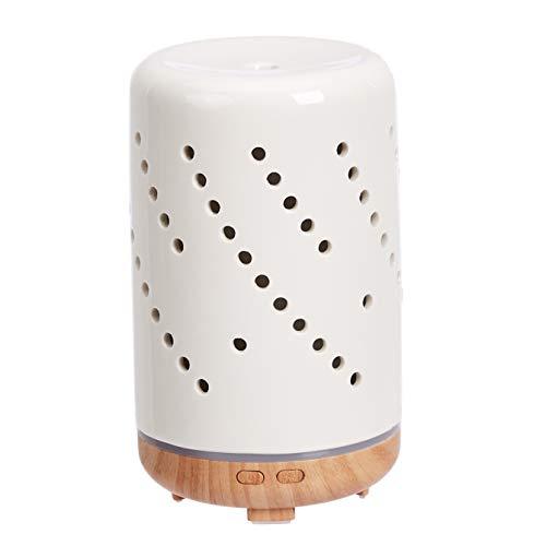 Amazon Basics Difusor de aceites esenciales para aromaterapia ultrasónico y cerámico de 120ml, base con acabado de madera, diseño de círculos