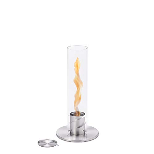 höfats - Spin 90 silver including stainless steel refill can - bioethanol fireplace for indoor and outdoor use - table fire lantern and stainless steel garden torch