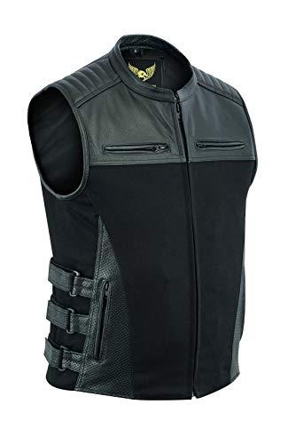 Leatherick Gilet da motociclista Swat in pelle di bufalo in denim e pelle di bufalo, stile tattico da uomo con tasche per pistola e pannelli perforati (5XL)
