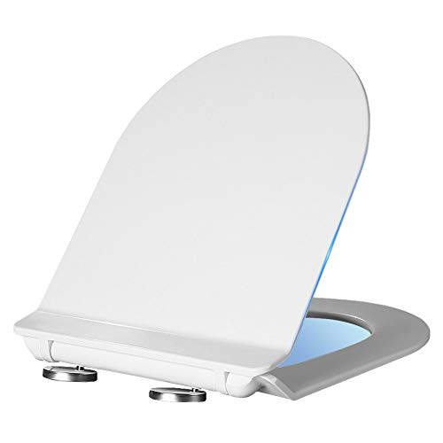 XUXRUS Toilet Seat with Slow Soft Close Features and Adjustable Hinge, D Shape Ergonomic High-Density Ultra-Thin Mute Toilet Lid
