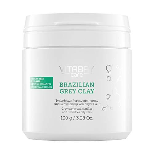 Vitabay Brazilian Grey Clay 100 g • Porenverfeinernde Tonerde gegen fettige Haut • Detox Maske zum Anrühren