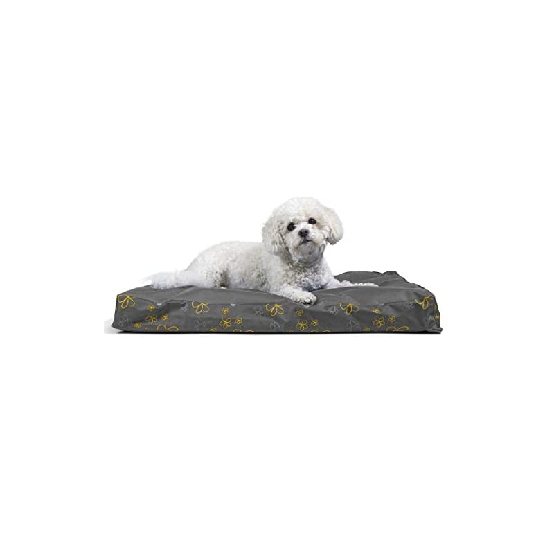 dog supplies online furhaven pet dog bed - deluxe orthopedic mat water-resistant indoor-outdoor garden traditional foam mattress pet bed with removable cover for dogs and cats, iron gate, medium
