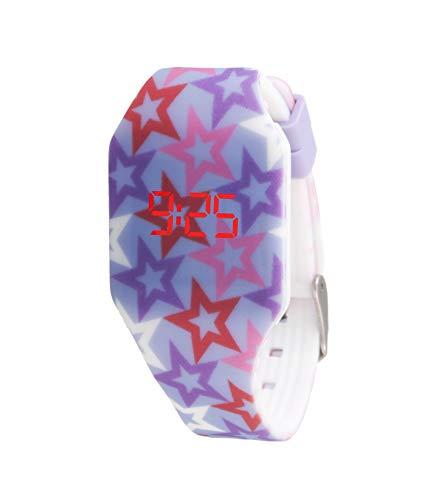 Orologio digitale a LED KIDDUS per bambini, ragazze. Cinturino comodo in morbido silicone. Batteria giapponese lunga durata. Facilità di lettura e apprendimento dell'ora.