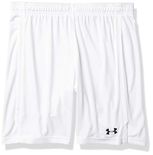 Under Armour Boys' Youth Maquina 2.0 Soccer Shorts , White (100)/Black , Youth Large