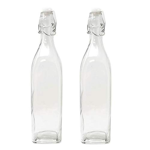Clear Glass 33oz Carafe Bottle Wire Swing Flip Top Italian Design - Vinegar, Oil, Dressing, Kombucha, Kefir, Beer (Set of 2)
