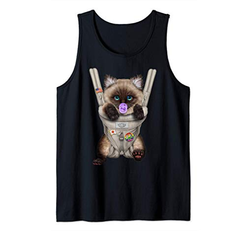 Gato siamés con chupete en portabebé Camiseta sin Mangas