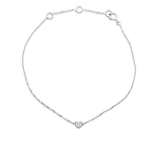 Miore Armband - Armreif Damen Kette Weißgold 9 Karat / 375 Gold Diamant Brillianten 0.04 ct 18 cm
