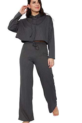 Sudadera con capucha y pierna ancha para mujer, de manga larga, para mujer