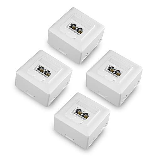 benon 4X Netzwerkdose universal CAT 6a Ethernet im Set - Internetdose vollständig geschirmt - RAL 9003 Signalweiß - Datendose Aufputz oder Unterputz - Ethernetdose RJ45, 500MHz, 10Gbit