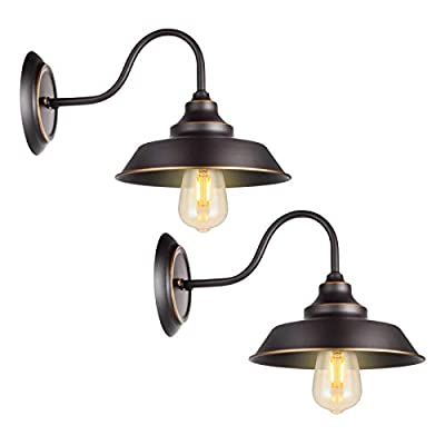 Retro Gooseneck Wall Lamp Wall Sconce Iron Durable Indoor Wall Fixture, Oil Black Finish with Highlights and Metal Shade Industrial Vintage Farmhouse Wall Light 2-Pack
