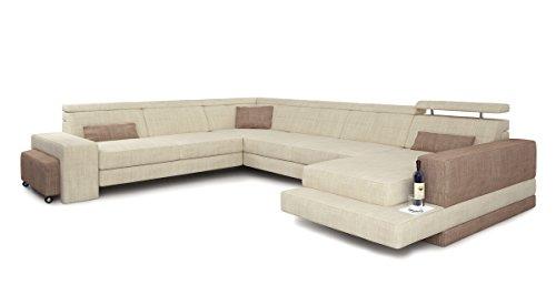 Bullhoff by Giovanni Capellini U-Form Wohnlandschaft XXL Stoffsofa Ecru Creme/sandbeige Sofa Couch modern Design Ecksofa mit LED-Licht Beleuchtung Imola