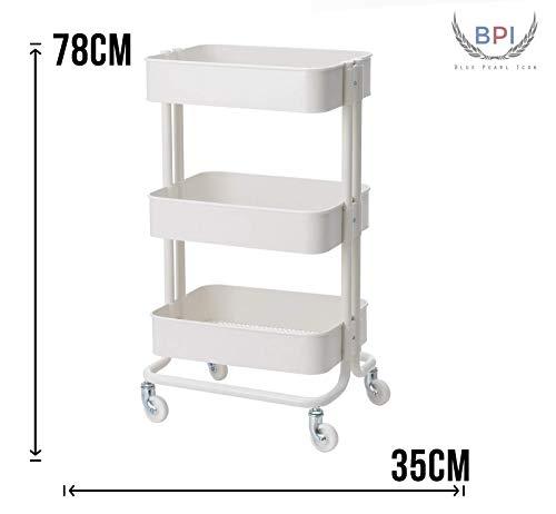 BPIL IKEA RASKOG Einkaufstrolley für Zuhause, Büro, Küche, Schlafzimmer, Weiß, Größe 35 x 48 x 78 cm