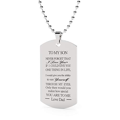 ST-Power Stainless Steel Hand carved letters Dog Tag Necklace.DAD TO My Son Pendant Necklace,Inspirational Gifts for Son Jewelry Inspirational Gifts for Son Jewelry