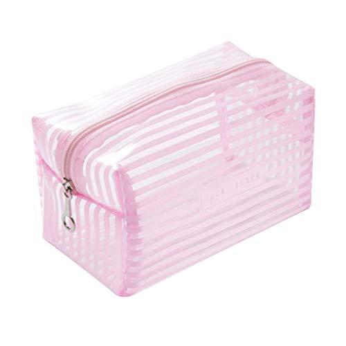 Toporchid Portable Grande Capacité Étanche Transparent Maquillage Sac Rayé Zipper Cosmétique Organisateur Femmes (Rose L)