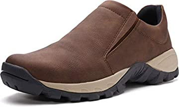WHITIN Men's Jungle Moc Slip-On Shoes Waterproof Walking Tennis Sneaker for Male Size 10 Casual Lightweight Slip Resistant Breathable Work Hiking House Garden Moccasin Loafers Dark Brown 44