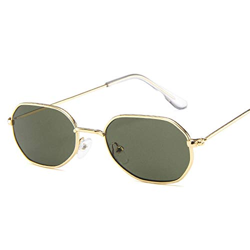 DLSM Gafas de Sol Oval Metal Mujeres Classic Vintage Vidrios para Mujeres Rosa Espejo Retro Eyewear Adecuado para Gafas de Golf Gafas de Sol-Oro Oscuro de Oro