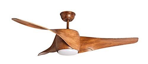 Sulion Ventilador de techo Mustang de madera, 127 cm, con LED