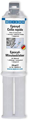 WEICON Epoxy Colla Rapida, siringa doppia da 24 ml, colla epossidica bicomponente per metallo, legno, pietra, plastica, vetro, ceramica, VTR, ecc. | trasparente cristallino
