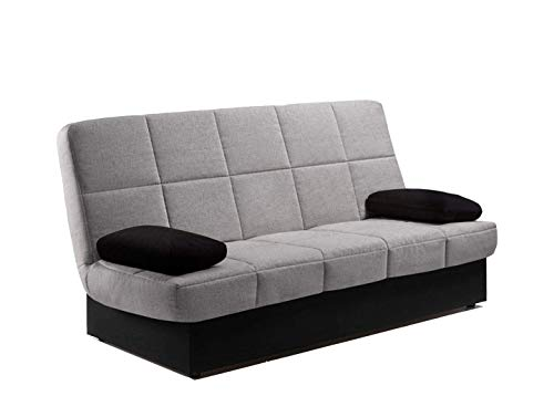 Home Heavenly - Sofa Cama London Clic clac desenfundable con arcón 2 plazas, 190 (Gris Claro)