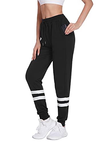 Halffle Damen Jogginghose mit Streifen Lässig Lang Sporthose Freizeithose Trainingshose mit Seitentaschen Sweathosen für Jogging Laufen Fitness Yoga Schwarz S
