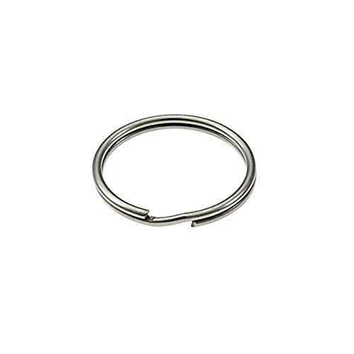 Merriway BH02294 38mm (1.1/2 inch) Spring Steel Key Ring - Nickel Plated - Pack of 10