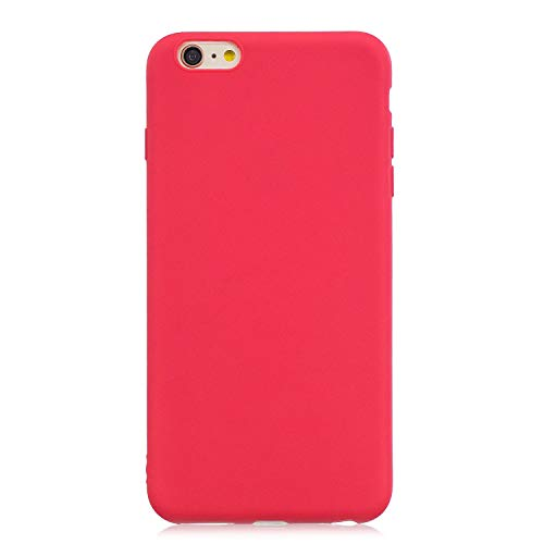 cuzz Funda para iPhone 6/6S Plus+{Protector de Pantalla de Vidrio Templado} Carcasa Silicona Suave Gel Rasguño y Resistente Teléfono Móvil Cover-Rojo
