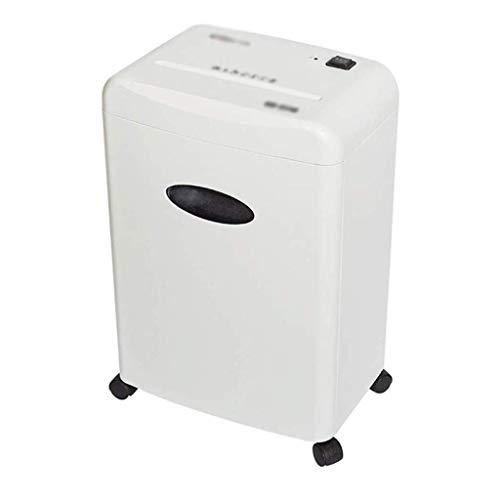HFDGDFK Oficina eléctrica trituradora de papel-10-Hoja de Trabajo Pesado Cruz-corte del papel/CD/Tarjeta de Crédito Shredder con 4 ruedas, White
