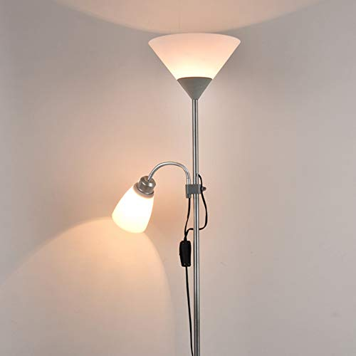 QLIGHA LED Stehlampe Klapp Teleskop Schmiedeeisen Stehlampe Schlafzimmer Wohnzimmer Studie Moderne vertikale Beleuchtung (Birne Nicht inbegriffen),Silver,175x22.5cm