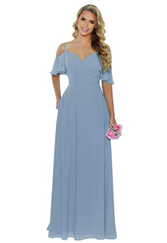 A-line Cold Shoulder Long Bridesmaid Dress Dusty Blue Pleated Chiffon Evening Party Gown with Pockets Size 6