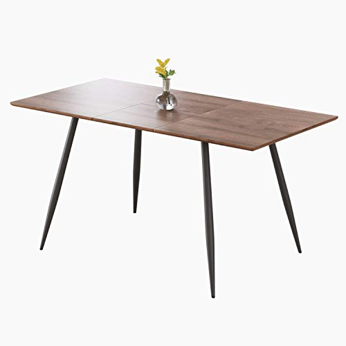 Dining Table, Large Extendable Wood Rectangle 4-6 Seat Kitchen Table for Dining, Party,Meeting Table (120-160 CM)