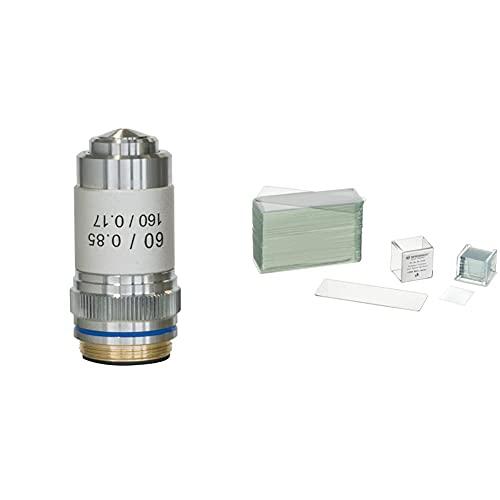Bresser Mikroskop Objektiv DIN-60x, achromatisch für DIN/RMS Gewinde & Mikroskop Objektträger/Deckgläser (50x/100x) mit geschliffenen Kanten zur Erstellung von biologischen Präparaten