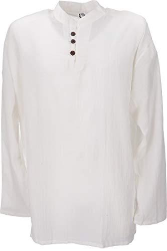 GURU SHOP Yoga Hemd, Goa Hemd, Herren, Weiß, Baumwolle, Size:XXL, Hemden Alternative Bekleidung