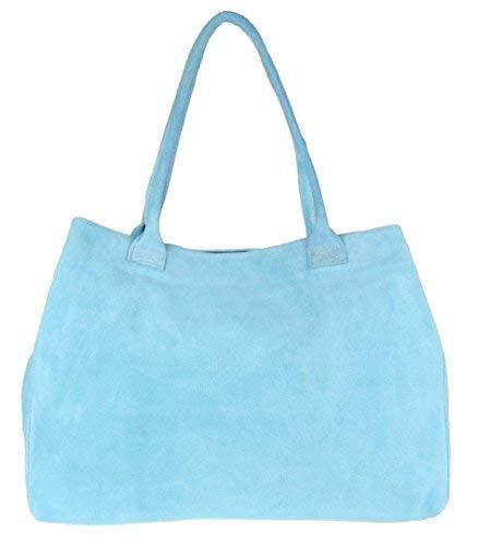 Girly Handbags Expandable Italian Suede Leather Shoulder Bag Light Blue