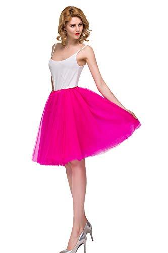 MisShow Damen Tüllrock Tutu Unter Rock Petticoat für Karneval Rockabilly Kleid Fuchsia
