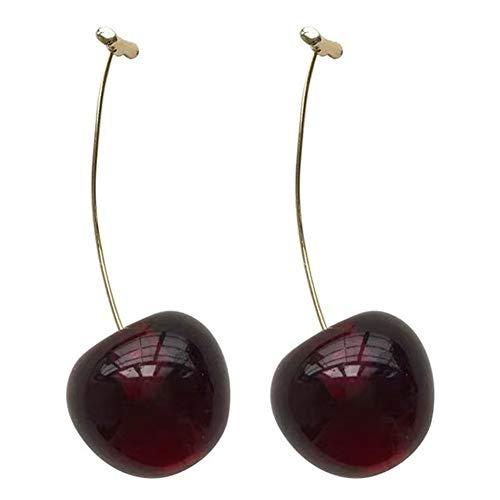 Qinlee Kirschen Ohrringe Damen für Hänger Miniblings Cherry Kirsche Rockabilly 3D rot emailliert Lange Ohrringe für Frauen Elegante Böhmen Damen Tanzparty-Rot