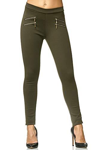 Elara Miss Anna Damen Stretch Hose Skinny Jegging Chunkyrayan A11-22 Green 36 (S)
