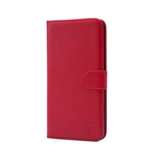 32nd PU Leder Mappen Hülle Flip Case Cover für BlackBerry DTEK50, Ledertasche hüllen mit Magnetverschluss & Kartensteckplatz - Rot