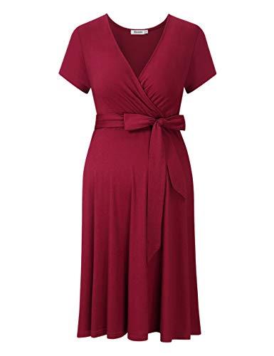 KOJOOIN Damen Umstandskleid Schwangerschafts Kleid für Schwangere Stillkleid V-Ausschnitt Kurzarm mit Taillengürtel(Verpackung MEHRWEG)