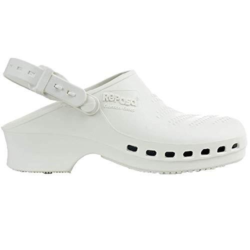 Zuecos Sanitarios de Trabajo Reposa • Zuecos Mujer y Hombre con Suela de Goma Antideslizante • Zapatos para Enfermería Y Hostelería • Talla 39 • Color Blanco