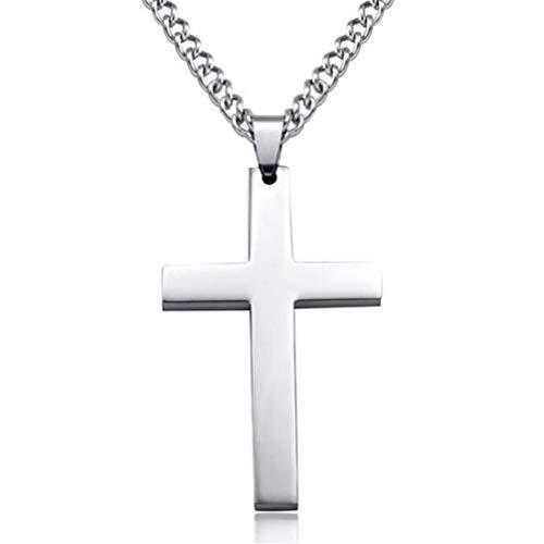 Toporchid Cross Pendant Necklace Jesus-style Titanium Steel Necklace for Men and Women (Silver)