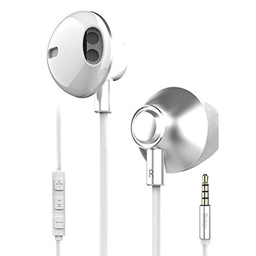Baker Auricolari con cavo, Cuffiette, Cuffie HiFi con microfono, 3,5 mm, per Huawei iPhone 5 6 Samsung, Sony, Xiaomi colore: Bianco
