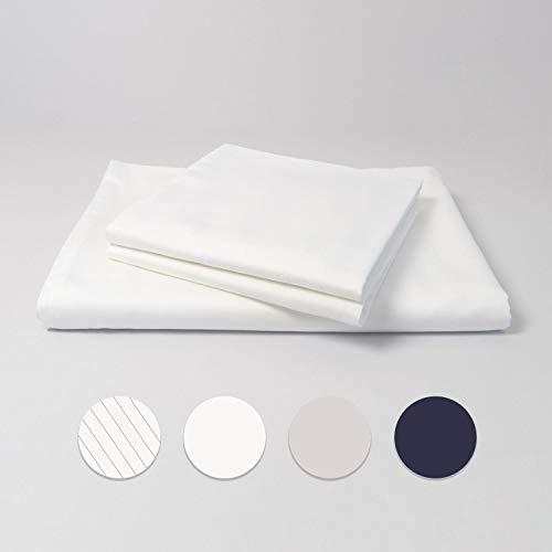 cloudlinen Bettwäsche Set aus 100% Extra-Langstapeliger Premium Baumwolle - 200x220 cm (Bettbezug) + 2 * 80x80 cm (Kissen) - weiß einfarbig/unifarben - kuscheliger, Warmer und weicher Mako Satin