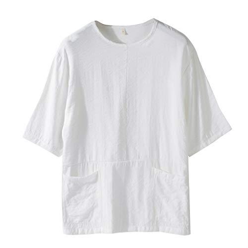 CAOQAO Camiseta Hombre Top cómodo y de Manga Corta de algodón Puro y cáñamo de la Moda de Verano Hombres