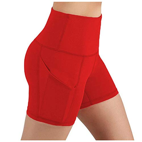 Weilov Lady Solid Pocket Taille Haute Hip Stretch Slip Running Fitness Yoga Shorts Confortable Casual Outfit Running Workout Sportswear