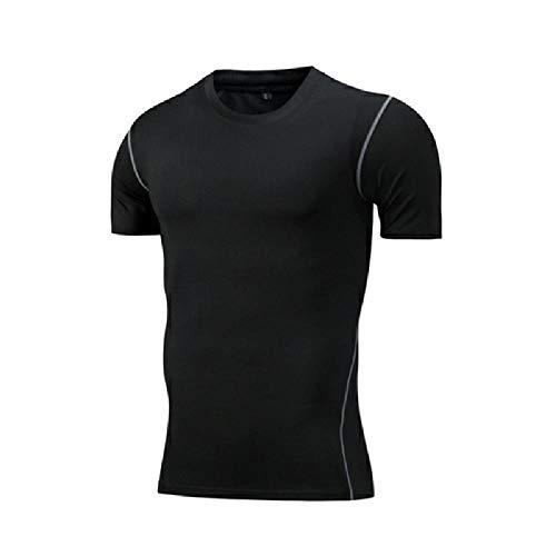 NOBRAND Kurzarm Strumpfhose Herren Running Fitness Sport Schnelltrocknend Atmungsaktiv Vier Jahreszeiten T-Shirt Tights Männer Gr. L, Schwarz
